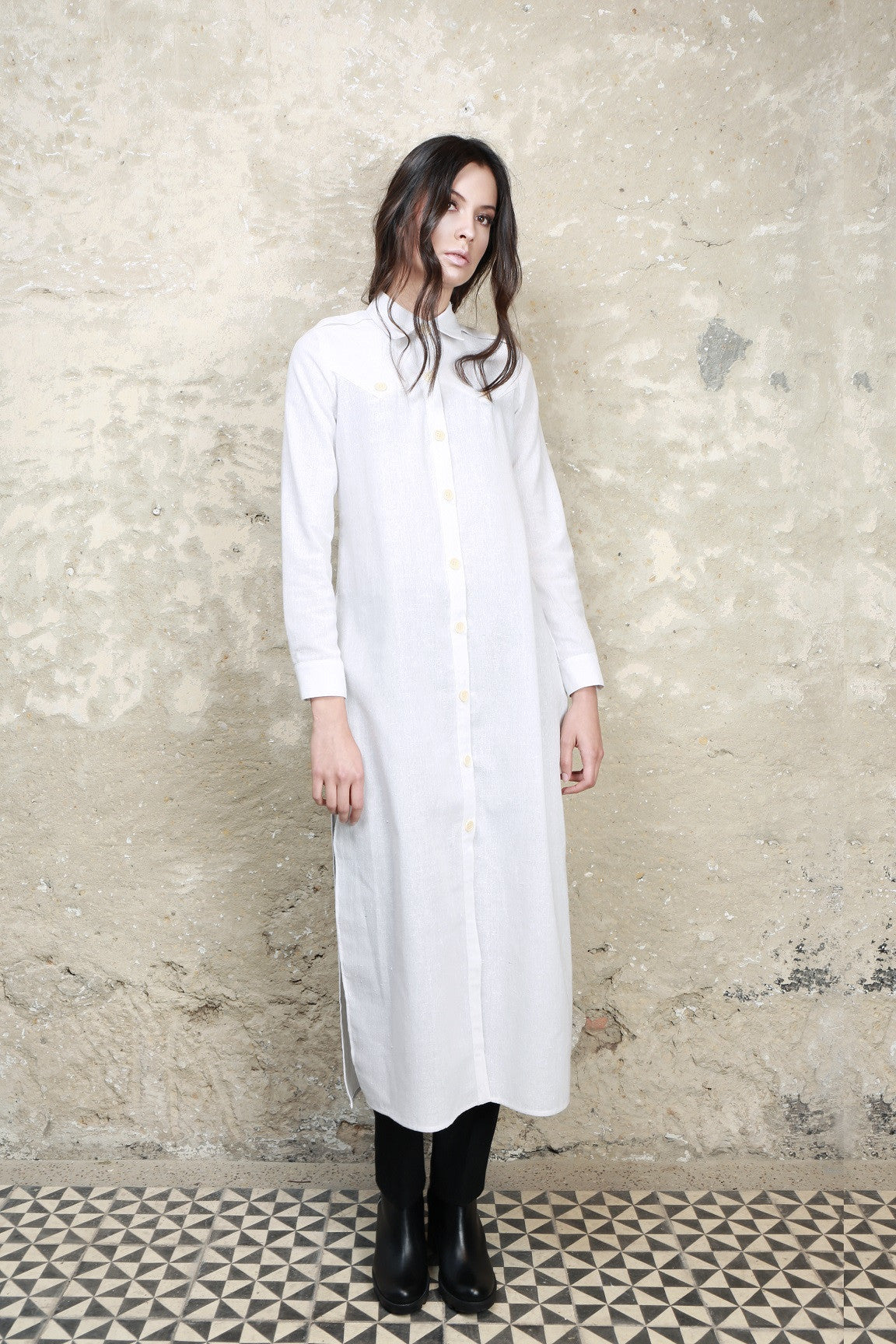 Sustainable Fashion Local Cotton Long  White Shirt