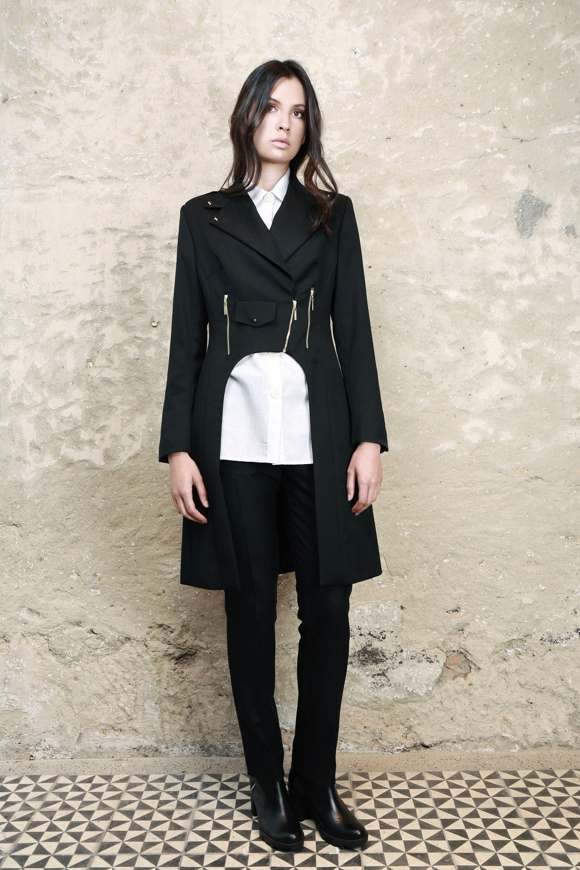 Sustainable Fashion Perfecto Black Wool Coat