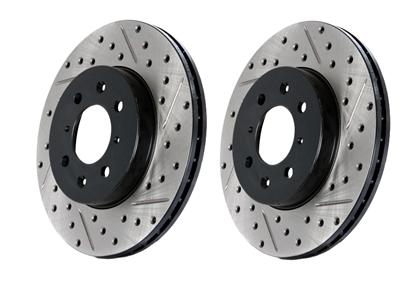StopTech - Rear Drilled & Slotted Rotor Set (Macan / S) - Flat 6 Motorsports - Porsche Aftermarket Specialists