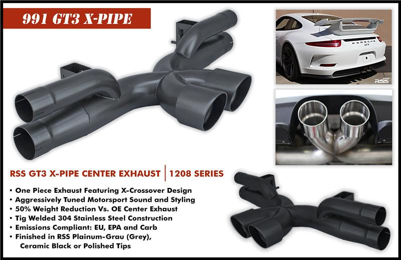 RSS X-Pipe Center Exhaust (991 GT3) - Flat 6 Motorsports - Porsche Aftermarket Specialists