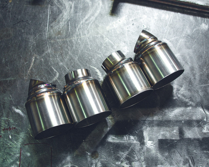 Agency Power Quad GT2 Angle Style Exhaust Tips (991 Turbo) - Flat 6 Motorsports - Porsche Aftermarket Specialists