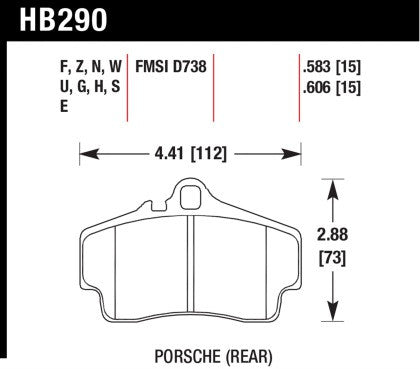 Hawk Street Ceramic Touring Rear Brake Pads (Cayman S / Boxster S 987, 996, 997) - Flat 6 Motorsports - Porsche Aftermarket Specialists
