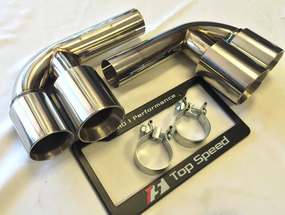 Top Speed Pro 1 Muffler Bypass Pipes w/ Quad Tips (996 Carrera / GT3) - Flat 6 Motorsports - Porsche Aftermarket Specialists
