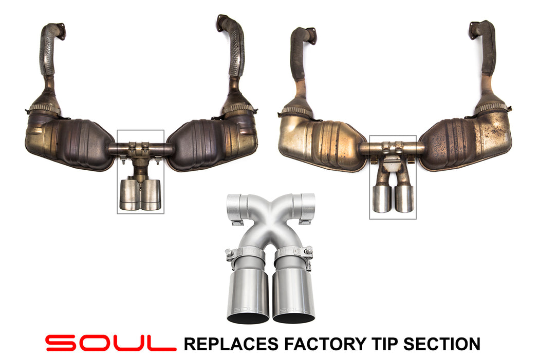 Soul Performance Products - Bolt-On X-Pipe With Tips (Cayman / Boxster 987)