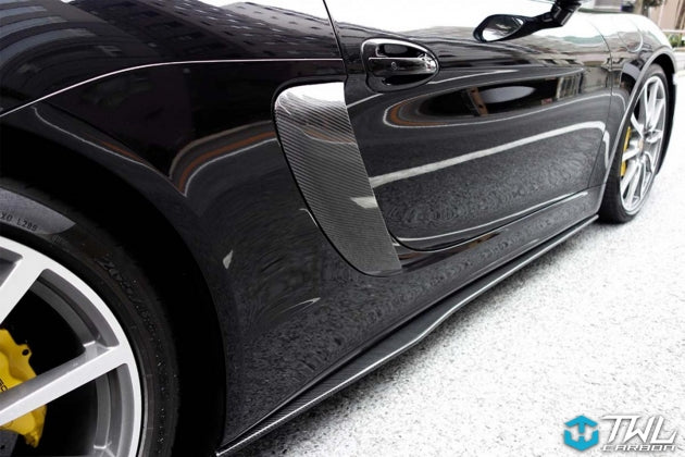 TWL Carbon - Carbon Fiber Side Skirt Extensions (Cayman / Boxster 981)