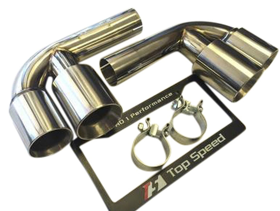 Top Speed Pro 1 Muffler Bypass Pipes w/ Quad Tips (996 Carrera / GT3)