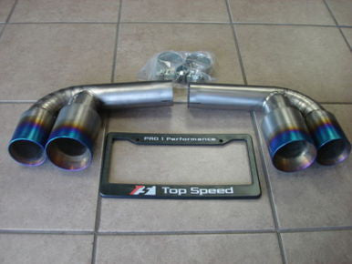 Top Speed Pro 1 Titanium Muffler Bypass Pipes w/ Quad Tips (996 Carrera / GT3) - Flat 6 Motorsports - Porsche Aftermarket Specialists