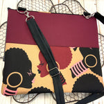 Afro Queen Crossbody Clutch - Coffee & Cream