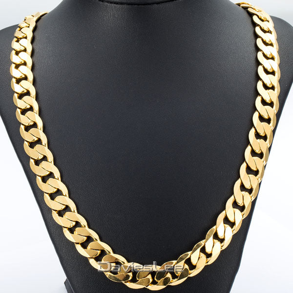 Davieslee Hip Hop Mens Necklace Curb Cuban Chain Gold Filled Jewelry