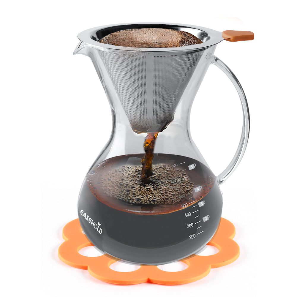 Hand Crafted Glass with Handle Pour over Coffee Maker- Fall Special
