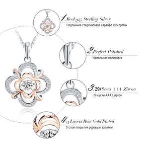 Genuine Silver Cute Flower Pendant Necklace- GET ONE TODAY
