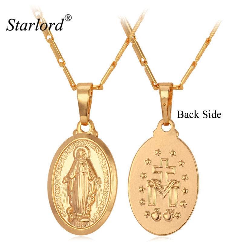 Starlord Blessed Virgin Mary Pendant Necklace For Women Gold Color Trendy Mother of Jesus Christian Cross Jewelry Gift P240