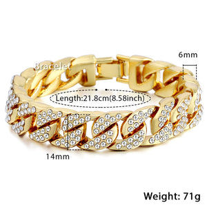 Trendsmax Mens Bracelet Hiphop Iced Out Miami Curb Cuban Gold-color- ON SALE NOW - GET YOUR
