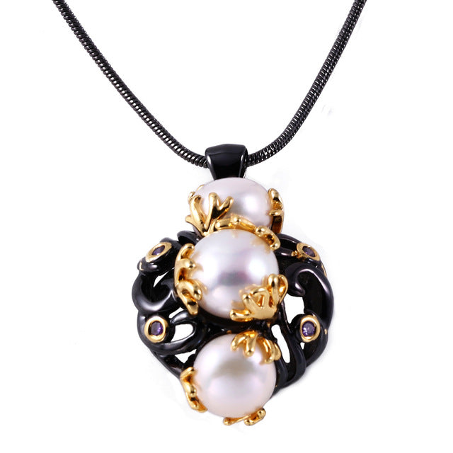 ZHE FAN Black Gold Color Jewelry Necklace Women Freshwater Pearls Unique Two Tone Plating Fashion Christmas Gift Jewellery