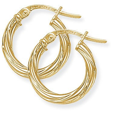 9ct Gold Small Twisted Hoop Earrings