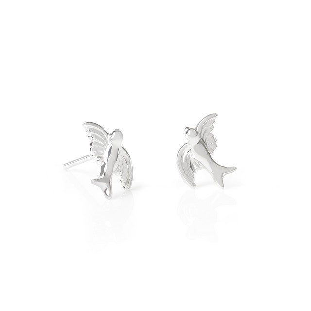Silver Swooping Bird Stud Earrings