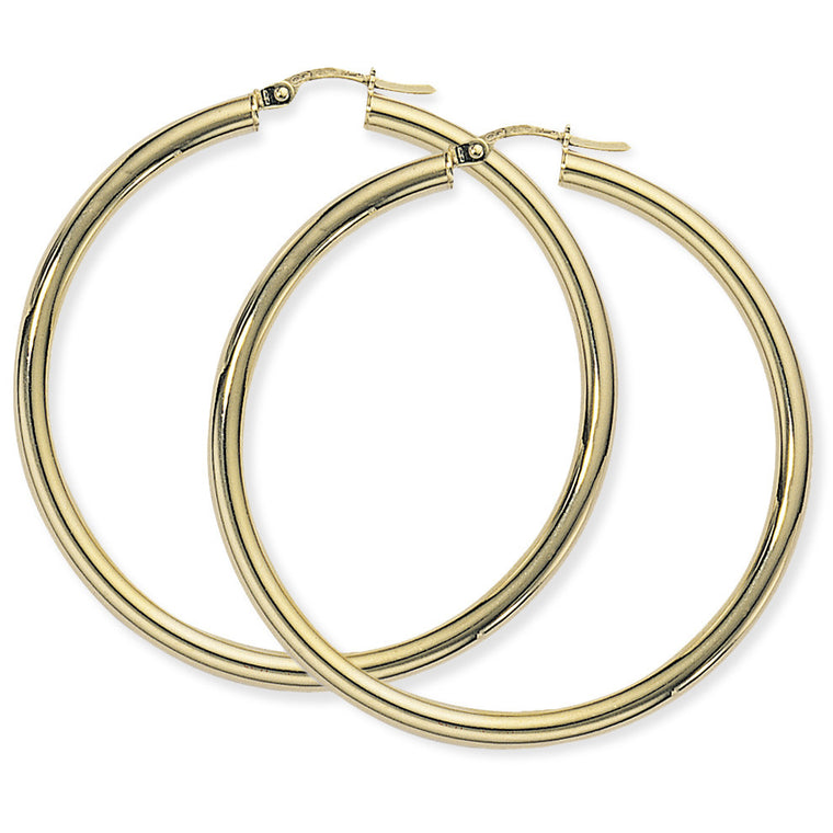 9ct Gold Large Plain Hoop Earrings