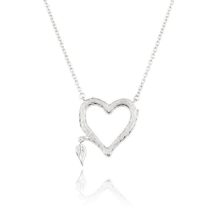 925 Silver Heart Bark Necklace