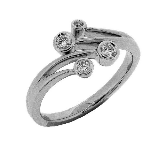 18ct White Gold Diamond Scatter Ring
