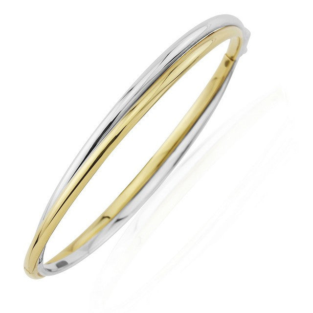 9ct Gold & White Gold Twisted Bangle
