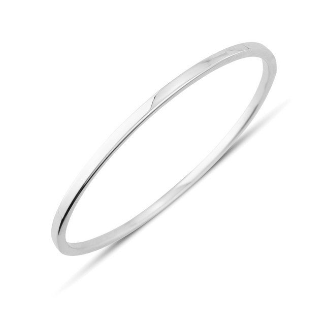 9ct White Gold Slim Plain Bangle