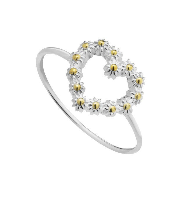 925 Silver Daisy Heart Ring