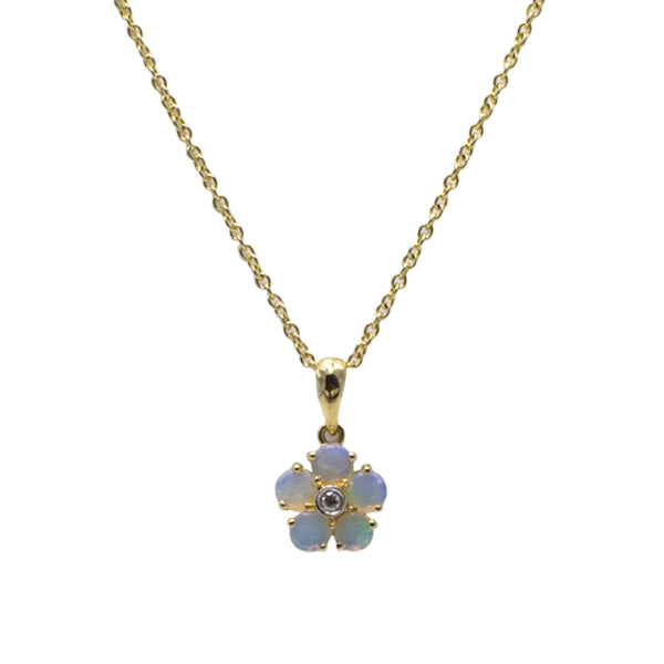 9ct Gold Opal & Diamond Necklace