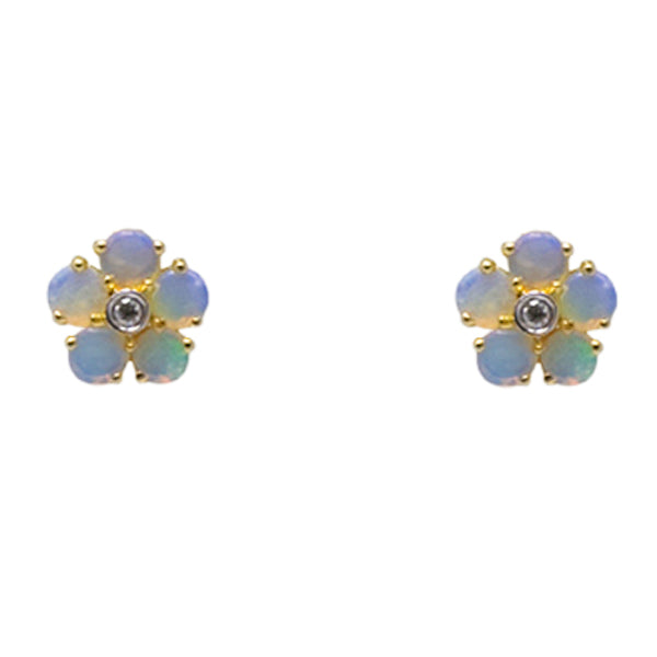 9ct Gold Opal & Diamond Cluster Earrings