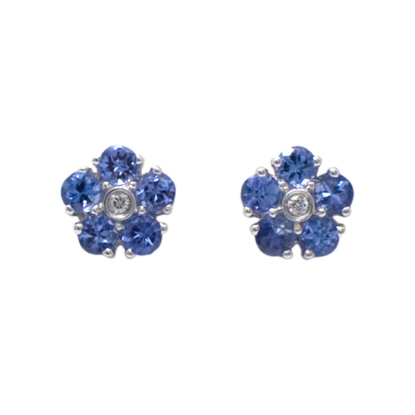 9ct Tanzanite & Diamond Earrings