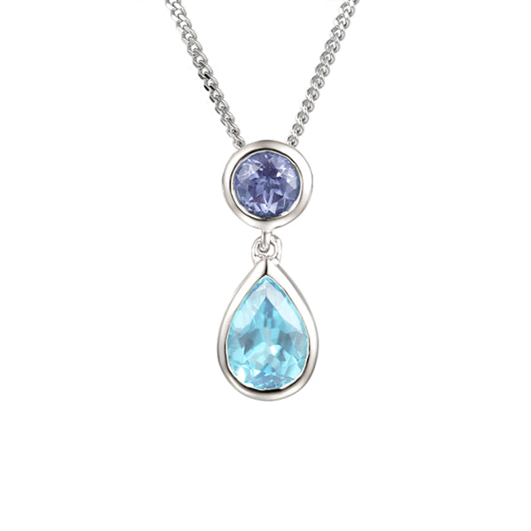 9ct Blue Topaz & Ioite Necklace