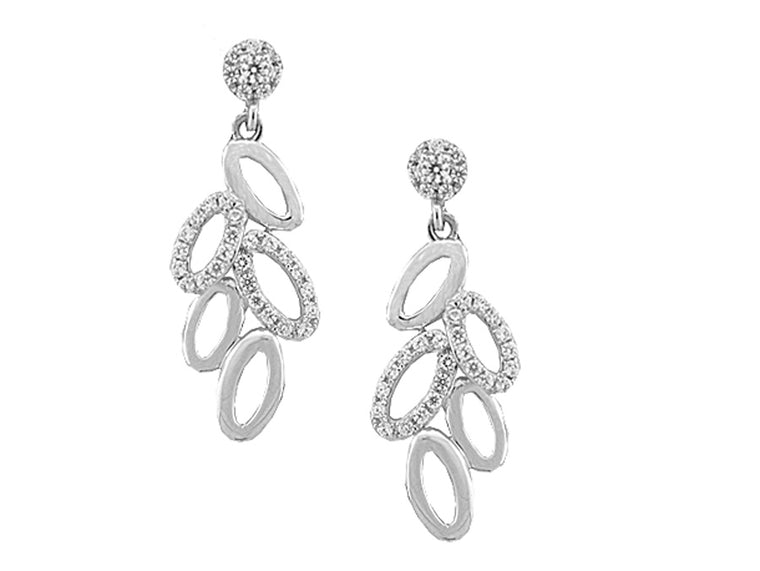 9ct White Diamond Drop Earrings