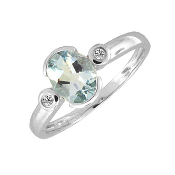 9ct White Gold Aquamarine & Diamond Ring