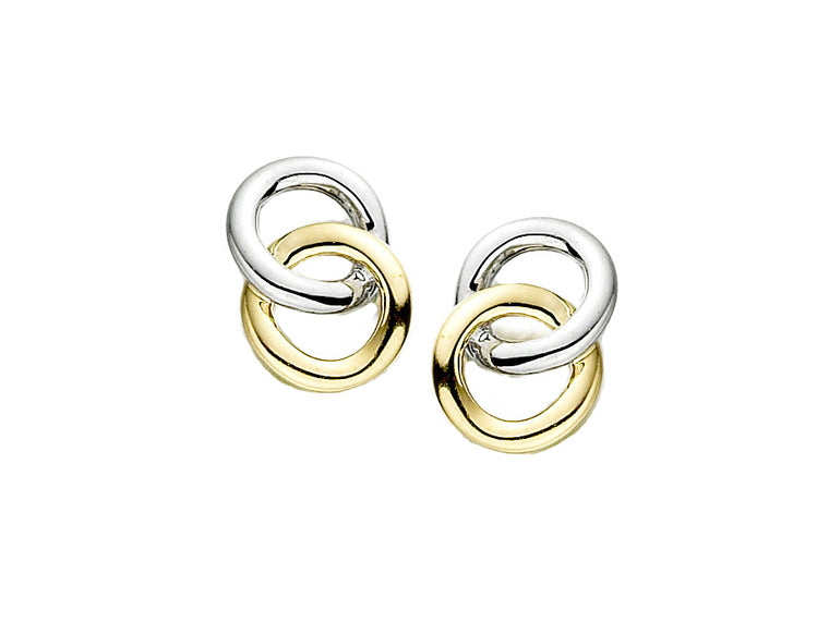 9ct Two Colour Circle Stud Earrings