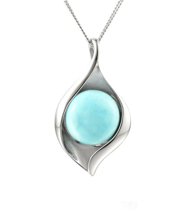 Silver Larimar Leaf  Necklace
