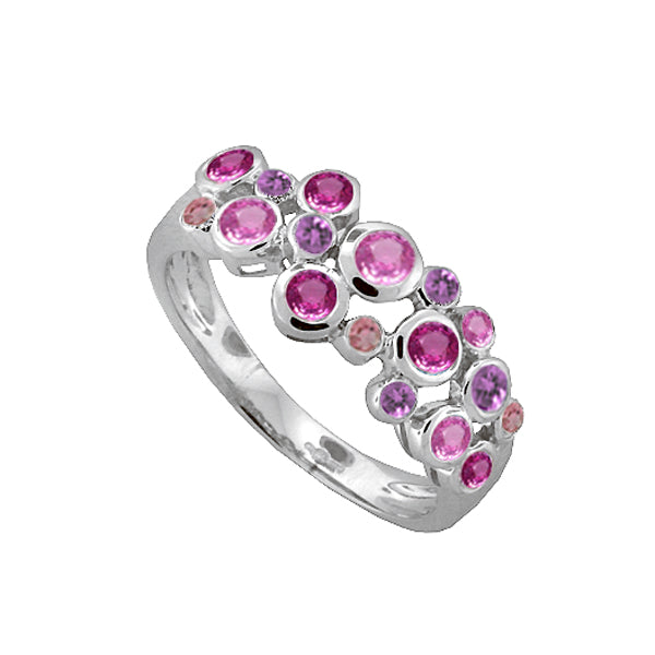 Silver Multi Gem Set Bubble Ring