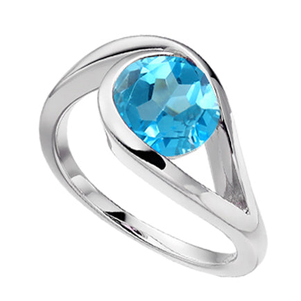 Silver Blue Topaz Ring