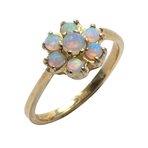 9ct Gold Opal Cluster Ring