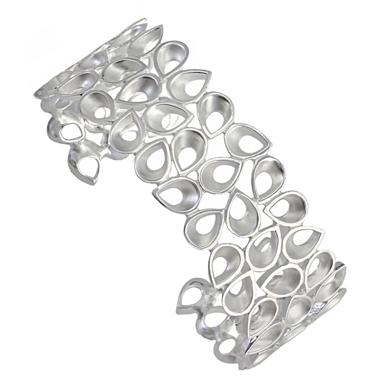 Silver Cuff Bangle Raindrops