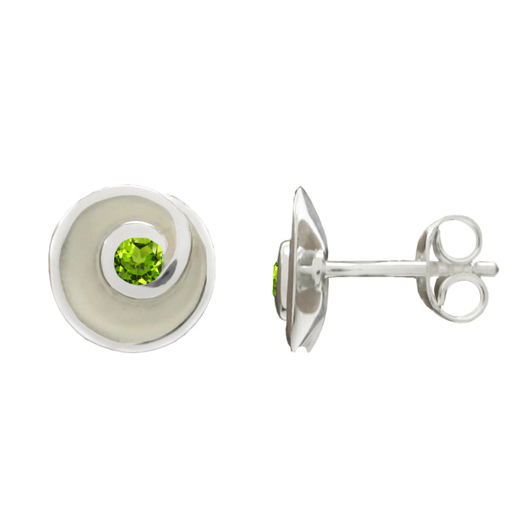 Silver Peridot Swirl Earrings