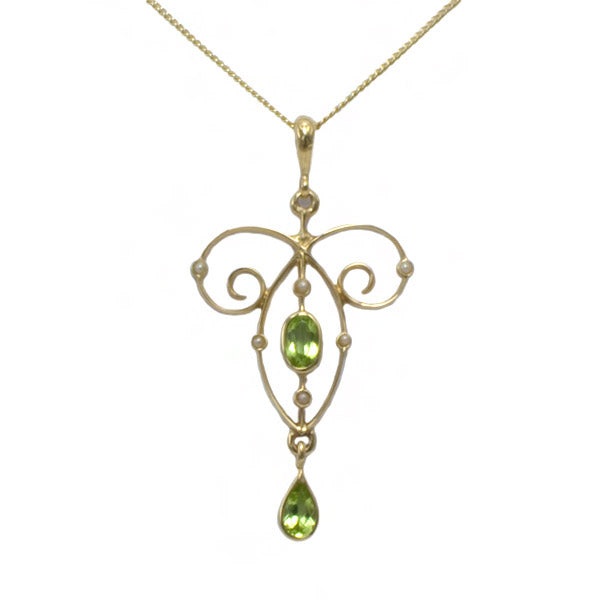 9ct Peridot & Seed Pearl Necklace