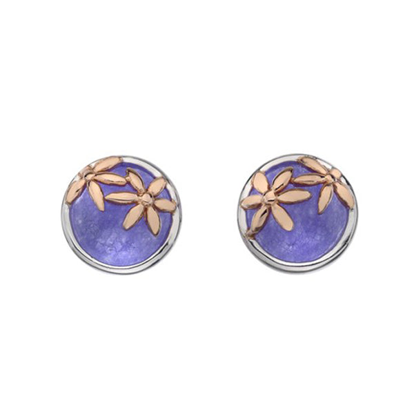 Silver Purple Agate Round Stud Earrings