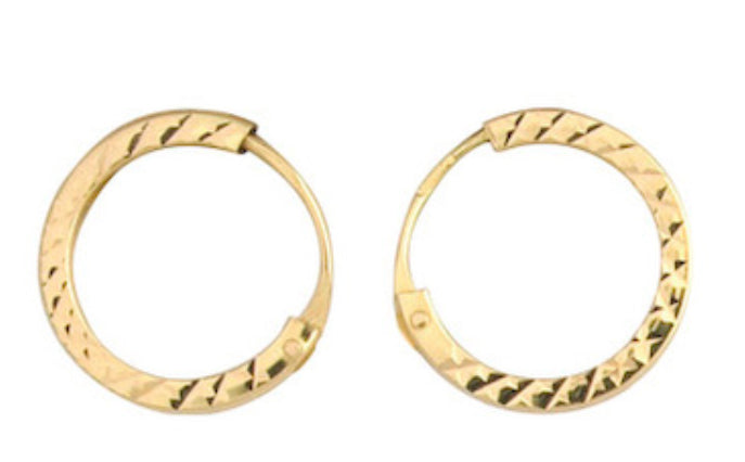 9ct Gold Diamond Cut Hoop Earring