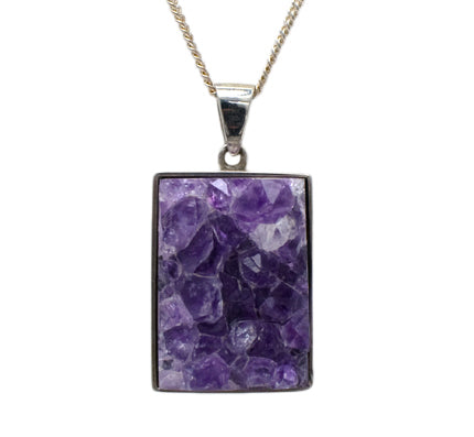 Silver Amethyst Geode Pendant & Chain