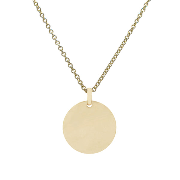 9ct Solid 22mm Disk Necklace