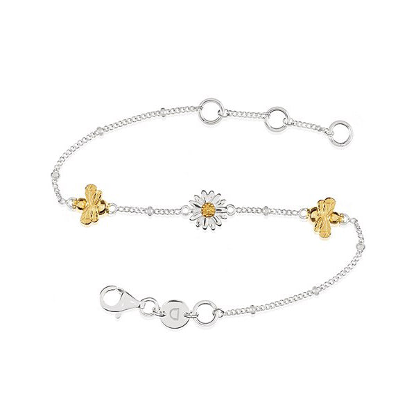 Silver English Daisy & Bee Bracelet