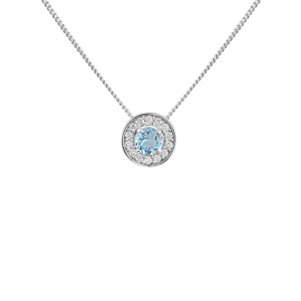 18ct Aquamarine & Diamond Pendant