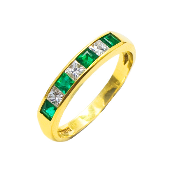 18ct Emerald & Diamond Eternity Ring