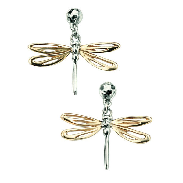 9ct Gold Dragonfly Drop Earrings