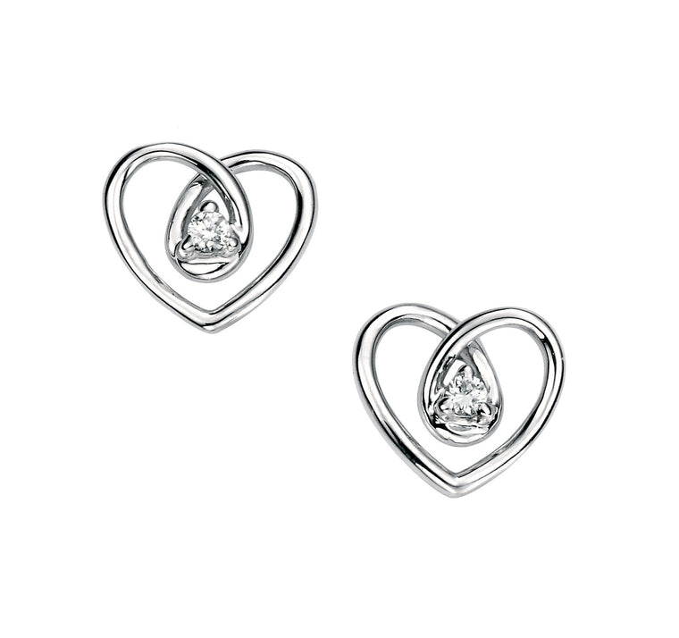 9ct White Gold Diamond Stud Earrings