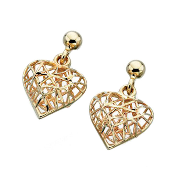 9ct Y/Gold Caged Heart Drop Earrings